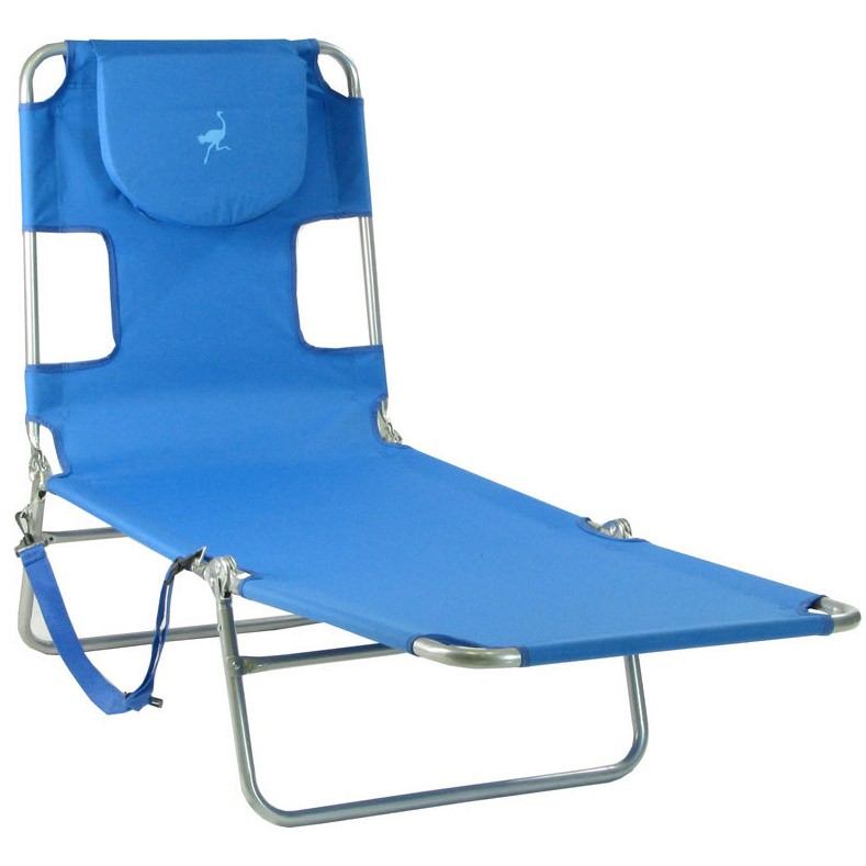 Ostrich mp102 folding beach chaise lounge ocean blue for Beach chaise lounger
