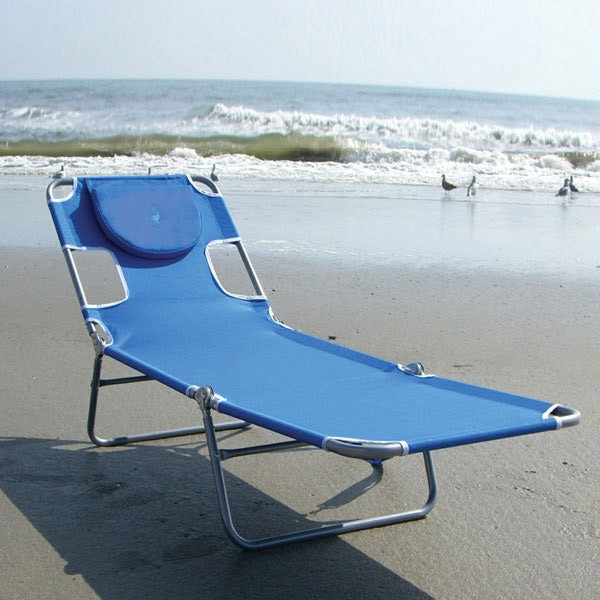 Ostrich mp102 folding beach chaise lounge ocean blue for Beach chaise lounge