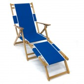 Frankford & Sons Oak Wood Folding Beach Chair Pacific Blue