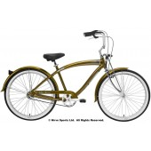 Nirve Fifty-Three 3Speed Men's Beach Cruiser Bikes 3469 Gold Metallic