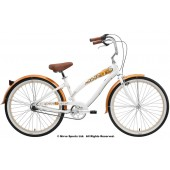 Nirve Coco Loco 3Spd Ladies Beach Cruiser Bike 3466 Met. White/Orange