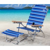 Rio SC796FR-1210 The Big Kahuna/K2 Footrest Beach Chair - Multi BlueWhite Stripe