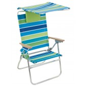Rio SC642HCP-1306 Ultra Hi-Boy Chair w/ Canopy - Blue/Green Stripe